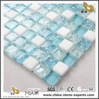 White And Light Blue Transparent Crystal Mosaic Wall Tile Crystal Glass Mosaic