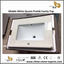 Middle White Quartz Bathroom Vanity Top for hotel project