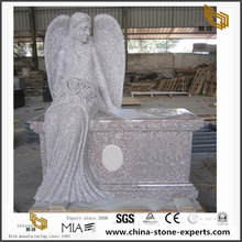 China G617 Granite angel carved stone with outside benches