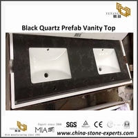 Yeyang's Black Quartz Bathroom Vanity Top for hotel project
