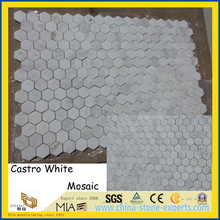 China Castro White Marble Mosaic Tiles for Home/Hotel Decoration