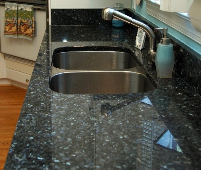 Fancy Blue Pearl Granite Kitchen Countertop (YQZ-GC1013) - Buy on kitchen remodels with black countertops, fancy rooms with windows, log home kitchens with black countertops,