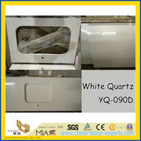 Popular White Quartz Stone Counter Tops (YQ-090D)