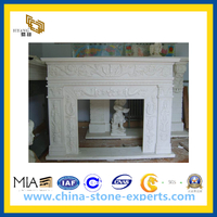 White Marble Stone Carving Fireplace for Indoor