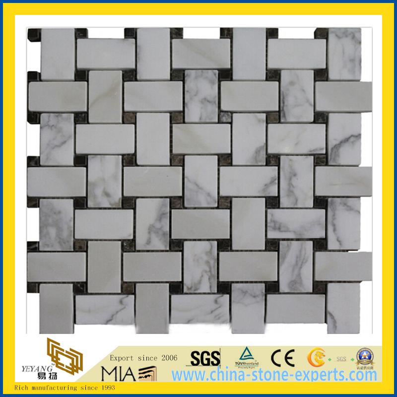 Calacatta Gold Marble Mosaic Tiles, Italy White Marble Mosaic, Calacatta White Mosaic Tiles,Basketweave Mosaics,Stips Mosaics, Herringbone Mosaics, Octagon Mosaics (YQA-MM1007) (2)