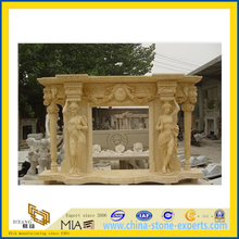 Decorative Hunan Beige Marble Fireplace Mantel(YQC)