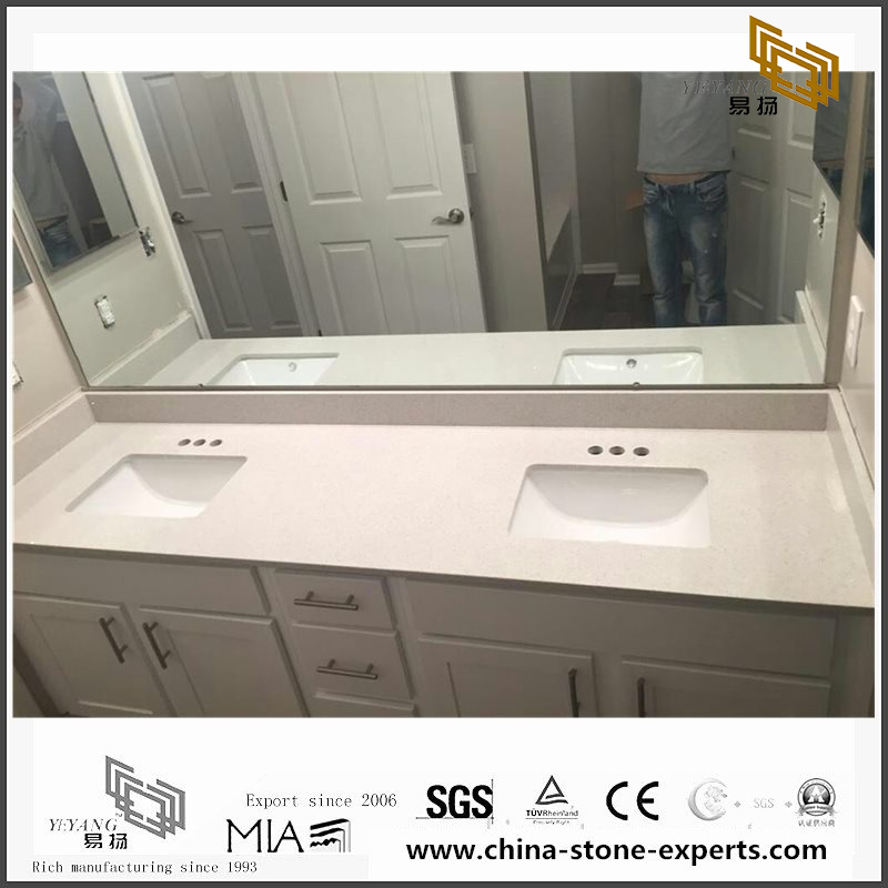 Beautiful White Quartz Kitchen Countertops for Home Decoration(YQW-QC101501)