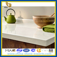 Polished White Artificial Quartz Stone Kitchen Countertop (YQZ-QC)